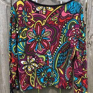 Joseph A. Sz M Black Top Color Floral Back